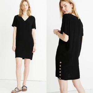 Madewell Side Button Easy Dress in Black